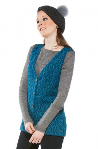 Damen Weste CHIMU PRESENT ärmellos V- Ausschnitt traditionelles Strick-Muster