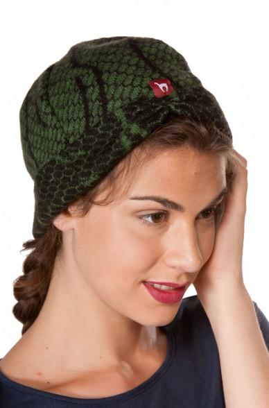 Damenhaube BOSKE gewalkte Alpaka-Woll-Mütze Jaquard-Strick edles Muster