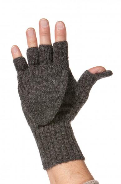 Handschuhe KÄNGURU Alpaka unisex Halbfingerhandschuh mit Klappe