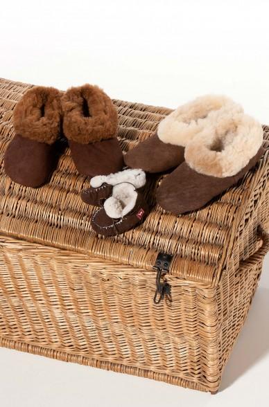 Alpaka FELL-PANTOFFELN Gr. 26-34 Kinder-Hausschuhe Schafsleder APU KUNTUR