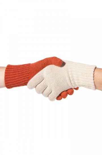 Damen Herren Fingerhandschuhe UNI wendbar einfach gestrickt zweifarbig von APU KUNTUR