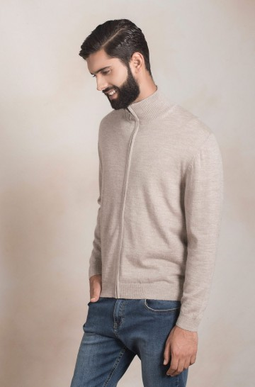 Alpaka Herren Basic Strickjacke ANDREAS KUNA Essentials