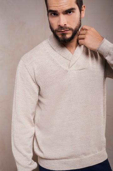 Pullover SAULO Herren Baby Alpaka Schal-Kragen
