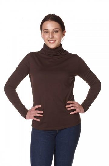 Damen Langarm-Rollkragen-T-Shirt IVY Pima Baumwolle