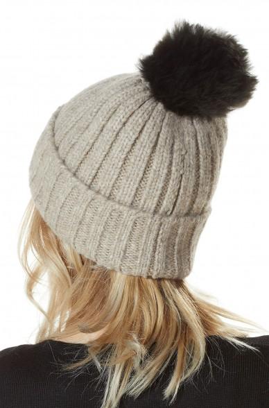 Rippenstrick-Mütze BIANCA mit Bommel unifarben Baby Alpaka