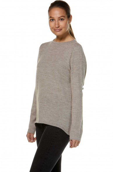 Damen BASIC Rundhals Pullover aus reinem Baby Alpaka von APU KUNTUR