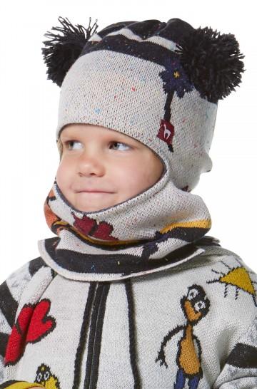 Schlupf-Mütze mit Kapuze AMOR mit Bommel für Kinder