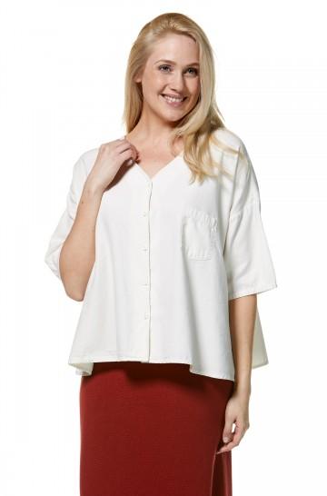 Blusen-Hemd ARIS Oversize mit V-Ausschnitt aus Bio-Pima-Baumwolle für Damen