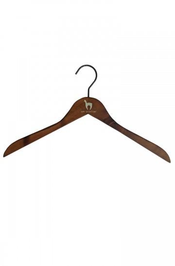 APU KUNTUR Kleiderbügel Holz 43 cm mit Alpaka Logo Unisex Damen Herren