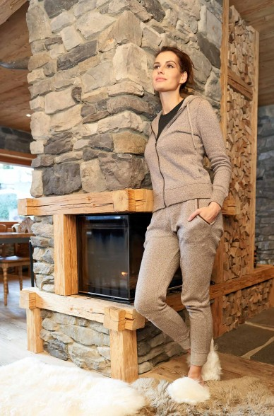 Damen Kapuzen HOODY aus Pima Baumwolle und Royal Alpaka