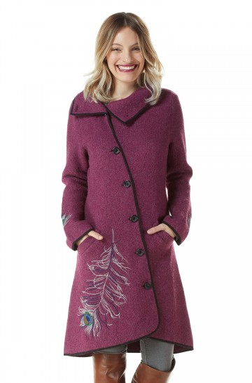 Mantel ASI ROYAL Damen gewalkt Alpaka Wolle asymmetrisch Knöpfe