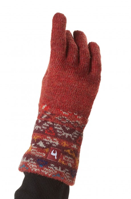 Alpaka Jacquard Fingerhandschuhe GELIA aus 100% Baby Alpaka