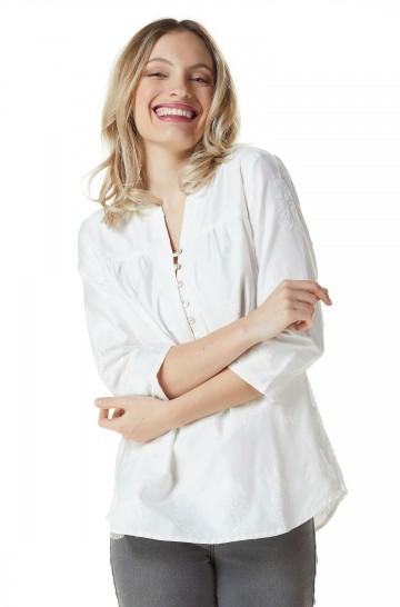 Bluse mit Stickmuster ESTER Bio Pima Baumwolle