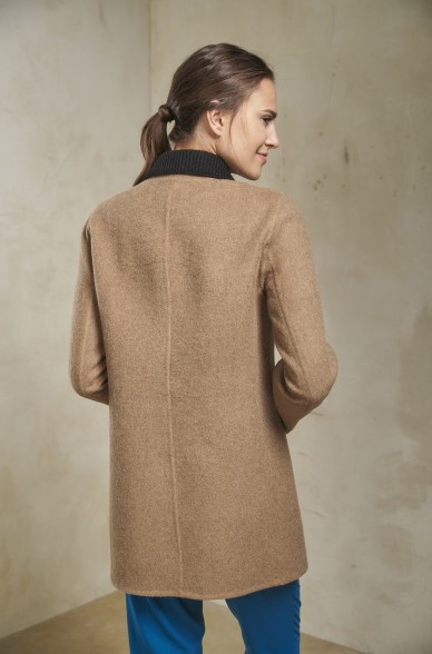 Kurz Mantel SVETLANA Damen Baby Alpaka Wolle Strickkragen