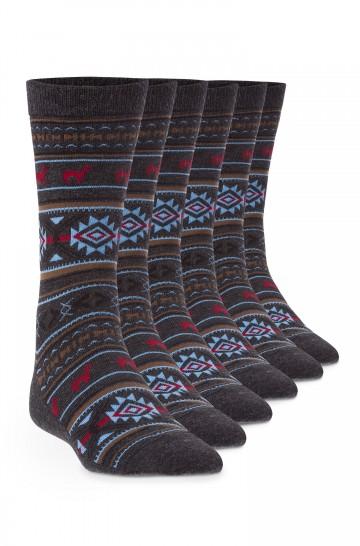 6er-Pack Strick-Socke Premium JACQUARD Baby Alpaka Pima Baumwolle Damen Herren