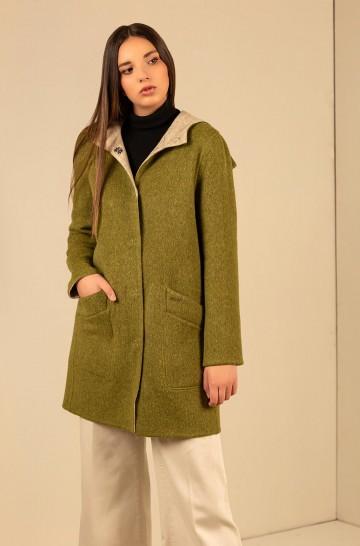Mantel UNO wendbar mit Kapuze aus Baby Alpaka und Wolle