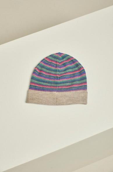 Mütze URDA mit Streifen aus Baby Alpaka