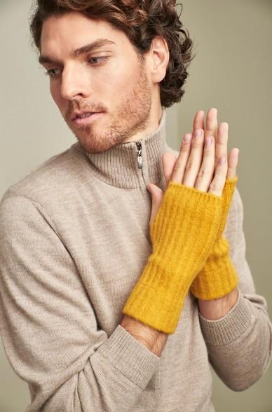 Pulswärmer fingerlose Handschuhe URUBAMBA aus Baby Alpaka und Seide