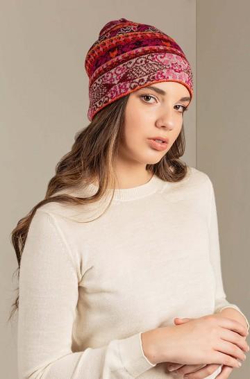Mütze UKALI mit dekorativem Muster aus Baby Alpaka