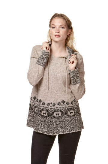 Pullover DIVINO naturfarben reines Alpaka Damen mit Kapuze