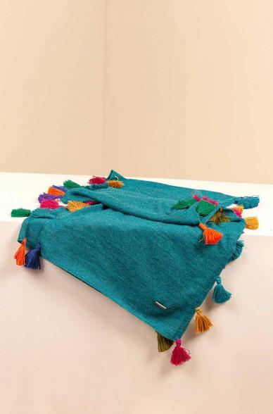 Schal SUZANA mit bunten Quasten aus Baby Alpaka