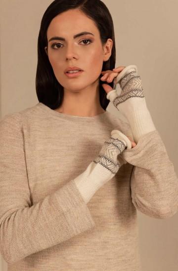Alpaka Fingerlose Handschuhe SAKARI aus 100% Baby Alpaka