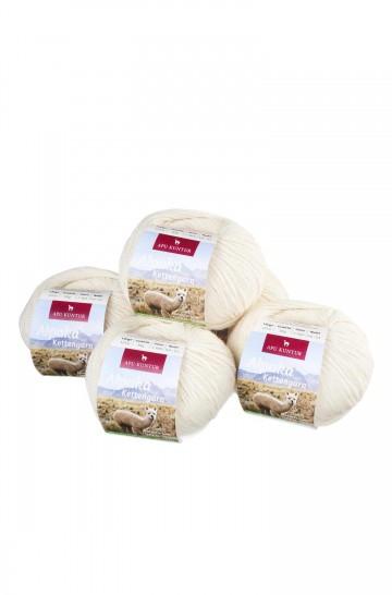 Alpaka Wolle KETTENGARN | 50g | 5er Pack | 55% Baby Alpaka (ungefärbt)