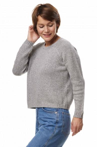 Alpaka Rundhals Pullover ELLA aus Baby Alpaka und Pima Baumwolle