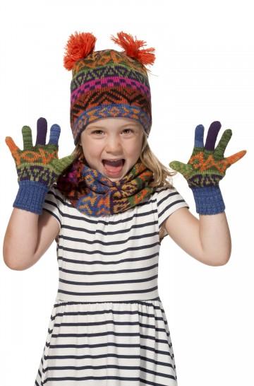 Kinder Finger Handschuhe AQUARELL für 7-9 Jahre gefüttert mit Baumwollvlies von APU KUNTUR_11713