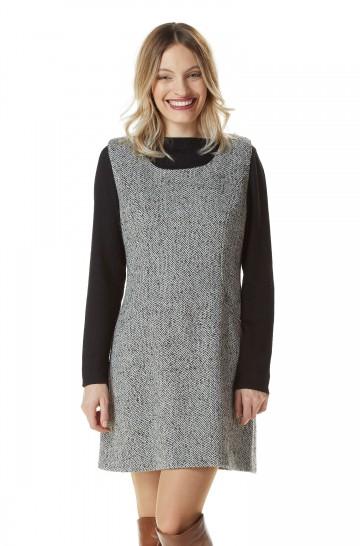 Web Kleid BENI Damen Mini Dress Tunika Fischgrät-Muster gefüttert_22550
