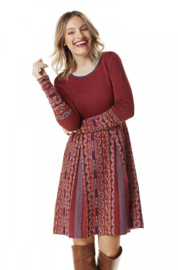 Strick Kleid GELIA Damen gemustert Ethno-Look_22575