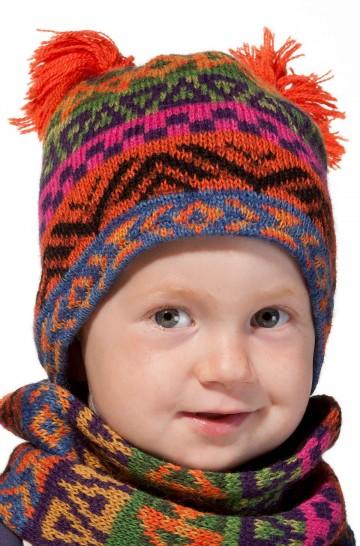 Baby Mütze AQUARELL ca. 6-11 Monate mit Baumwolle gefüttert gestrickt_37109