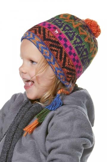 Kinder Mütze AQUARELL für 5-9 Jahre mit Baumwollvlies gefüttert Bommel-Haube_37112